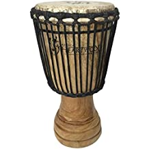 Hand-carved African Djembe Drum - Solid Wood, Goat Skin - Made in Ghana - 8x16