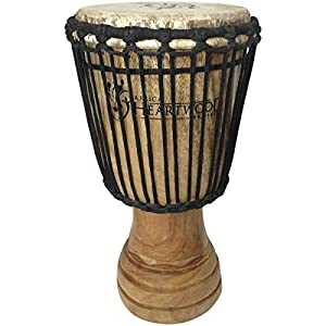 hand-carved african djembe drum – solid wood, goat skin – made in ghana –  8�16