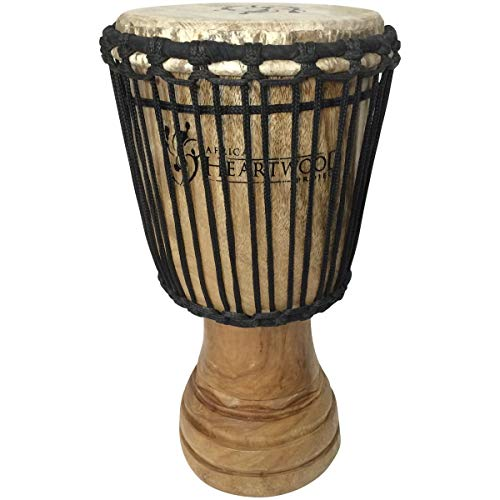 (Hand-carved African Djembe Drum - Solid Wood, Goat Skin - Made in Ghana - 8x16)