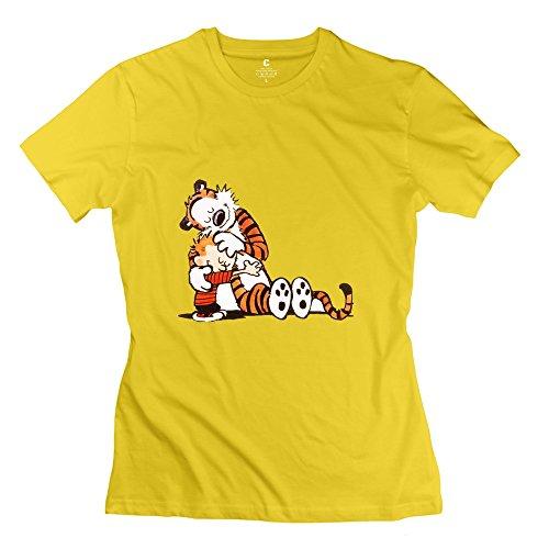 C-DIY Women's Tees Funny Calvin And Hobbes Tiger XXL Yellow