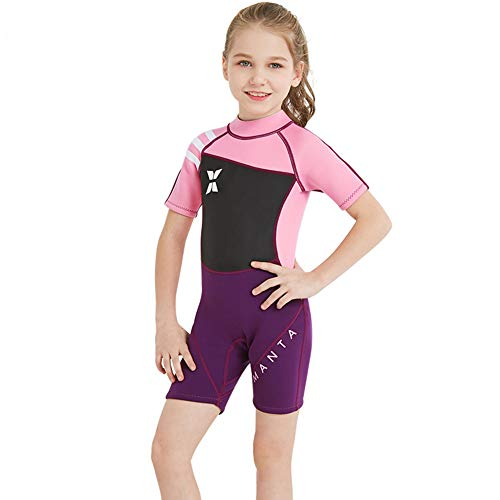 Neoprene Kids Wetsuit for Boys Girls 2.5MM One Piece Full Body Long Sleeve Swimsuit, UV Protection Keep Warm for Scuba Diving Snorkeling Swimming Fishing (Shorty Girls Pink, M (Height 41