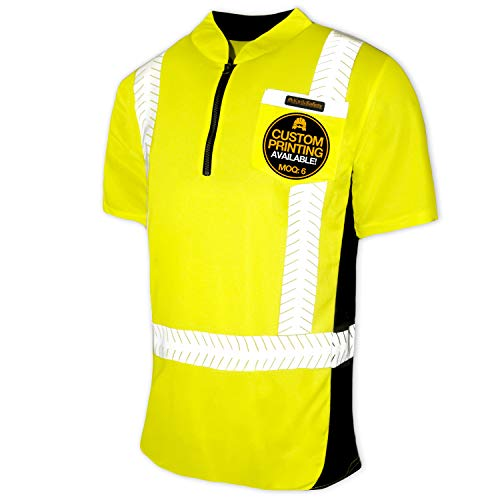 KwikSafety (Charlotte, NC) ENGINEER (Y-Neck Zipper with POCKET) Class 2 ANSI High Visibility Safety Shirt Fishbone Reflective Tape Construction Security Hi Vis Clothing Men Short Sleeve Yellow Small