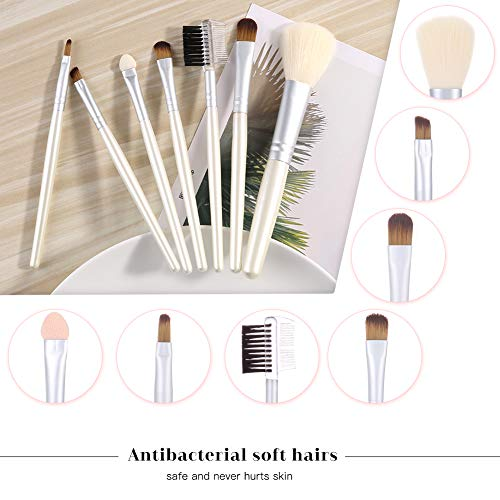 7 Pcs Makeup Brushes Set Premium Synthetic Brushes Kits for Cosmetic Make Up with Leather Brush Case Holder - Eyeshadow Foundation Fan Brush Brochas