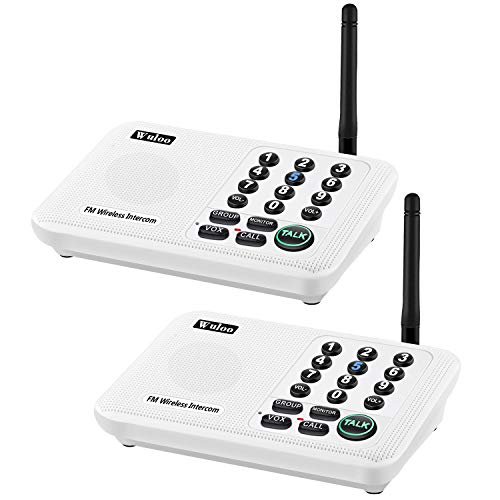 Wuloo Intercoms Wireless for Home 5280 Feet Range 10 Channel 3 Code, Wireless Intercom System for Home House Business Office, Room to Room Intercom, Home Communication System (2 Packs, White)