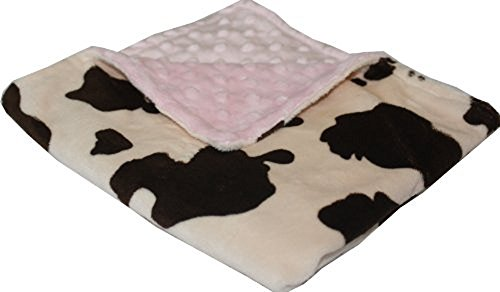 Pink And Brown Baby Bedding - Minky Blanket - Baby Blanket, Toddler Blanket, Child Blanket - Cream and Brown Cow Print Minky with Baby Pink Dot Minky