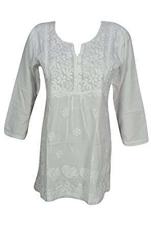 Bohemian Chic Designs Women White Tunic Cotton Hand Embroidered Casual Peasant Top Blouse