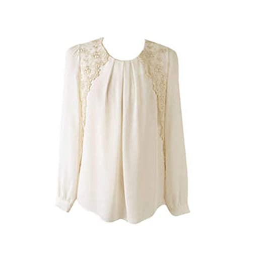 f9714efddf594b SunWard Women Sexy Vintage Long Sleeve Sheer Tops Lace Shirt Chiffon Blouse  (S, White