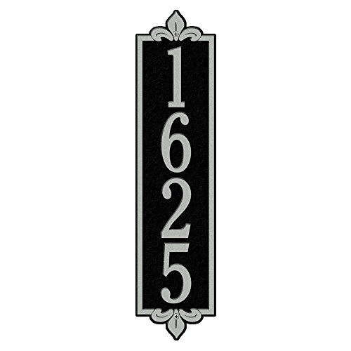 Whitehall Products Rectangular Lyon Estate Wall 1-Line Vertical Address Plaque - Black/Silver
