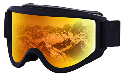 Ski & Snowboard Goggles - Dual-Layer Lens Snow Glasses for Skiing, Snowboarding, Motorcycling & Winter Sports - OTG, Anti-Fog & Helmet Compatible - UV400 Protection - Fits Men, Women & Youth