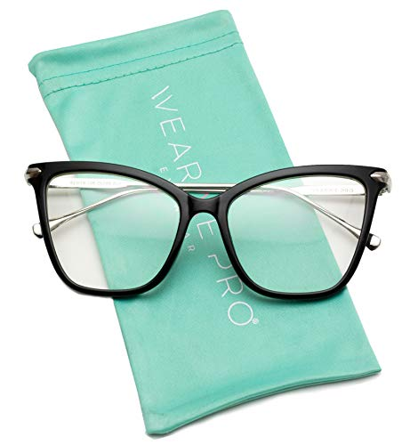 - WearMe Pro - New Elegant Oversized Clear Cat Eye Non-Prescription Glasses