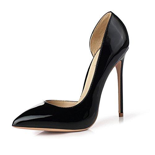 snfgoij Femme Noir Haute Talons Mode Sexy Travail Cour Chaussures Parti Mariage Haut Talon 12 CM Discothèque Femmes Chaussures Black(8.5cm) 7AQQ7PMC