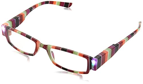 EVIDECO LED Reading Glasses with Light, LG Rainbow Optic By Finess Power +1