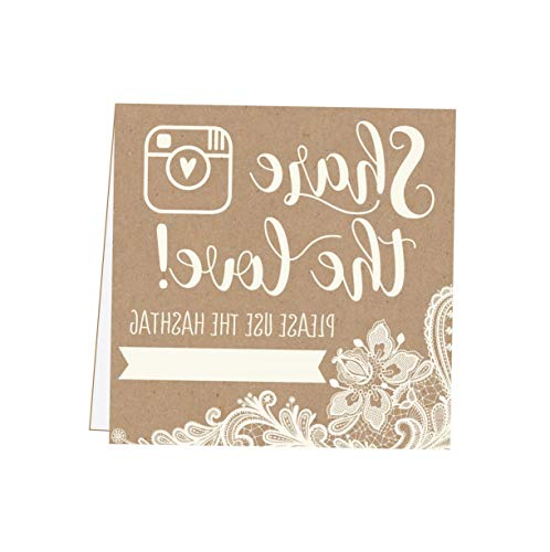 (Gatton 25 Kraft Lace ding Hashtag Signs, Rustic Vintage Table Top Place Cards or Photo Booth Oh Snap Sign, Quotes for ding, ding Reception or Ceremony Decor | Model WDDNG - 1724 |)