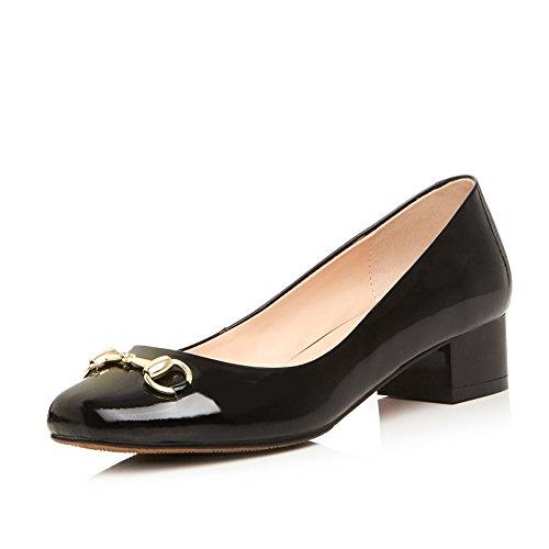 MINIVOG Womens Horsebit Square Toe Low Block Heel Pump Shoe Black
