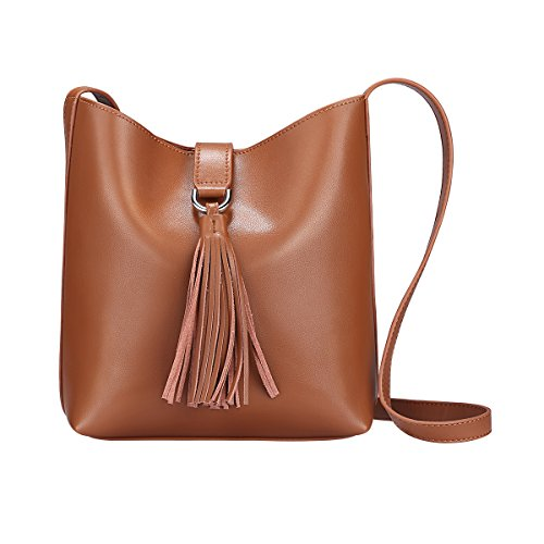 Cognac Leather Handbags - S-ZONE Women's Small Cowhide Leather Shoulder Bag Chic Cross-body Bag Tassel Ladies Purse (Brown)