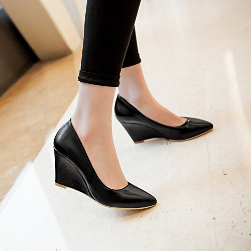 Show Shine Women's Sweet Leather Solid Color Wedges Court Shoes Black OWcaF