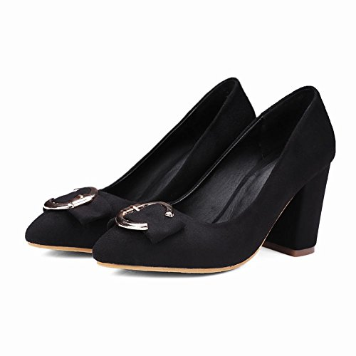 Latasa Womens Faux Leather Pointed Toe Block High Heels Pumps Black GasmO