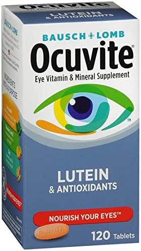 Bausch + Lomb Ocuvite Vitamin & Mineral Supplement Tablets with Lutein, 120 Count Bottle (Pack of 3)
