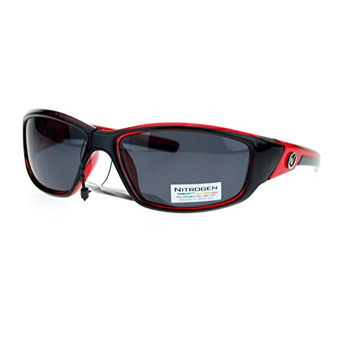 Nitrogen Polarized Mens Classic Oval Plastic Warp Sport Sunglasses Red