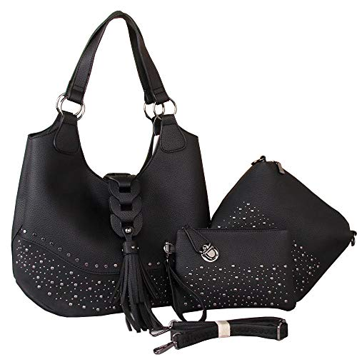 Nylon Tote Studded - Women's Hobo Handbags Studded Hobo Shoulder bag tote bags with tassel 3 purse set