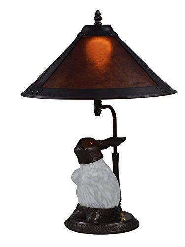 (Springdale STT17002 Rabbit Mica Table Lamp with Night Light, White/Antique Bronze)