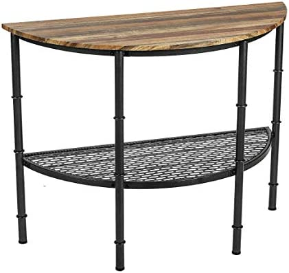 IRONCK Console Table for Entryway Half Moon Half Round, Entry Table with Shelf, Round Pipe Legs, Industrial Style,Vintage Brown