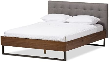 Baxton Studio Madeline Rustic Industrial Walnut Wood Grey Fabric Dark Bronze Metal Size Platform Bed