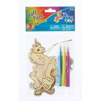 Bulk Buy: Darice Crafts for Kids Wood Ornament Kit Unicorn Makes 2 (6-Pack) 9190-794D