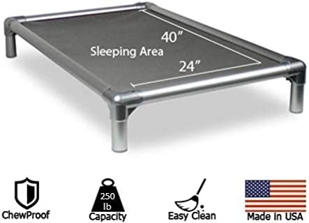 Chewproof Aluminum Raised Dog Bed - XL (44x27) - 40 oz. Vinyl - Gray