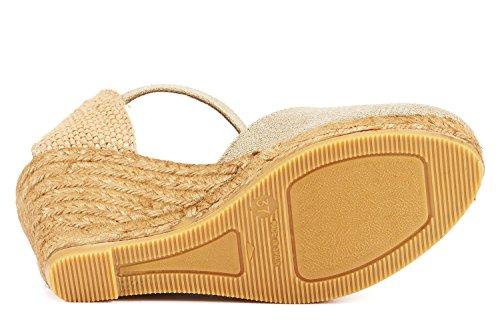 VISCATA Satuna Espadrille mit Beinstreckendem 7,5 cm Absatz, Handgefertigt in Spanien Gold