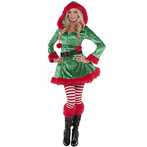 Green Sassy Elf Costume - Large - Dress Size 10-12 (Sexy Green Elf)