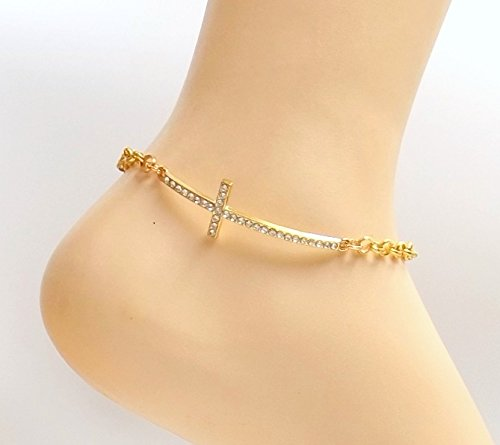 9ded249e094 Amazon.com  Sideways Cross Anklet Rhinestone Gold -plate Ankle Bracelet  Spiritual Religious All Sizes Men Women  Handmade
