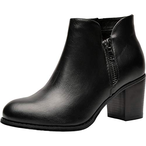 Luoika Women's Wide Width Ankle Boots - Mid Chunky Block Heels Round Toe Slip on Side Zipper Booties. Black Pu
