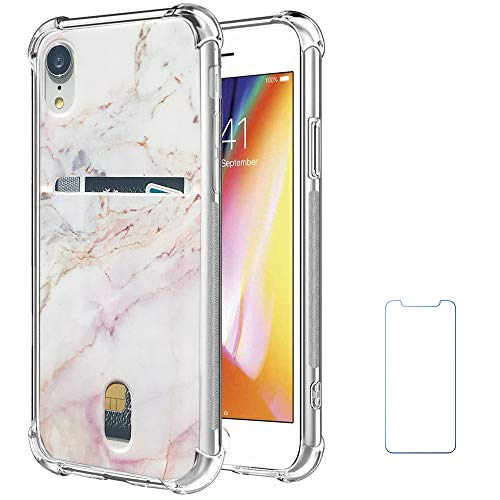 Card Holder Slot (Oddss Case Compatible for iPhone XR with Card Holder Slot Pink Purple Marble Ultra-Slim Thin Soft TPU Clear Cover Compatible for iPhone XR (6.1