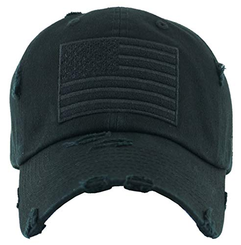 (H-212-AF06 Distressed Baseball Cap - American Flag, Black)