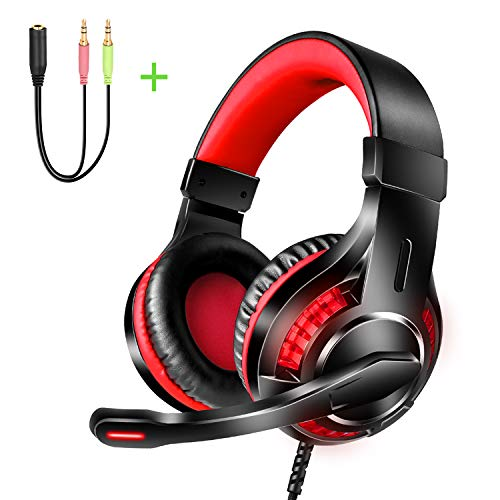 Stereo Gaming Headset for Xbox One,PS3,PS4, Nintendo Switch,Mac,PC,Reccazr HD10 Over Ear PC Stereo Gaming Headphones with Mic, Red LED Light, Bass Surround-Locate enemy's Position by Voice(Red+Black)