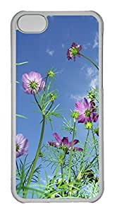 Customized iphone 5C PC Transparent Case - Sky And Flower Cover by runtopwell