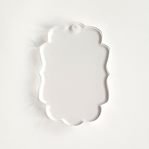 25 Acrylic Keychains Blank Sign Fancy Clear 1/8