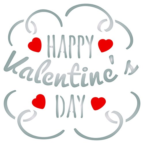 Valentines Day Stencil - 6.5 x 6.5 inch (L) - Reusable Happy Day Saying Quote Love Wall Stencil Template - Use On Paper Projects Scrapbook Journal Walls Floors Fabric Furniture Glass Wood Etc. ()