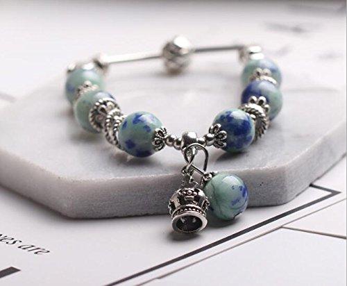 Yudanwin Necklace Beading Accessories DIY Handmade Beaded Bracelet Simple Alloy Bracelet(Crown-Emerald)