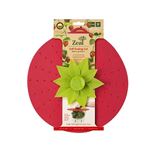 """Zeal Reflecting Nature Self-Sealing Lid with Vacuum Seal, Strawberry Design 23cm/9"""""""
