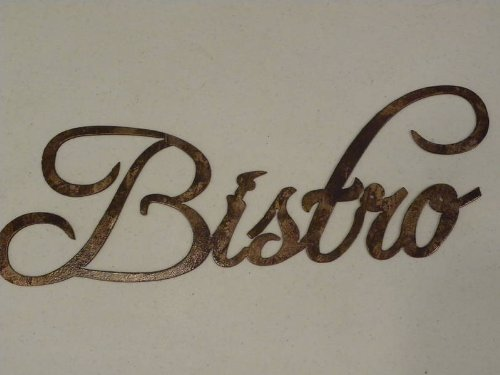 Bistro Word Antique Copper Color Kitchen Home Decor Metal Wall Art