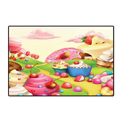 Modern Door Mat Small Rug Yummy Donuts Sweet Land Cupcakes Ice Cream Cotton Candy Clouds Kids Nursery Design Bath Mat for Bathroom Mat 16