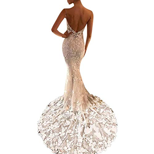 QIQIU Womens 2019 Sexy Lace leeveless Backless Long Formal Prom Party Ball Gown Wedding Dresses White
