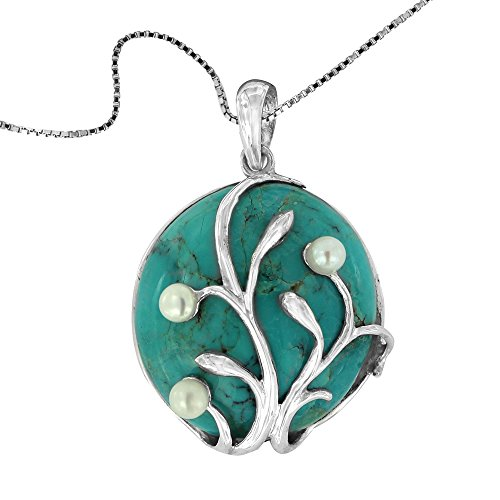 925 Oxidized Sterling Silver Turquoise with Cultured Freshwater Pearl Vine Gemstone Pendant Necklace, ()