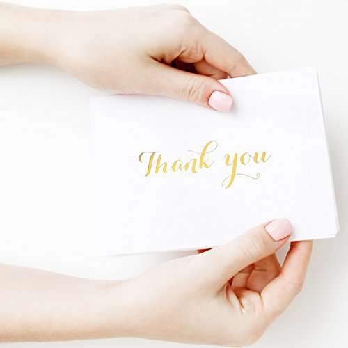 Wedding Thank You Notes - 100 Classy White Thank You Cards In Gold Foil Embossed Lettering And Matching Bulk Envelopes - The Perfect Thank You Notes For All Occasions Including Weddings, Bridal Showers And Baby Showers