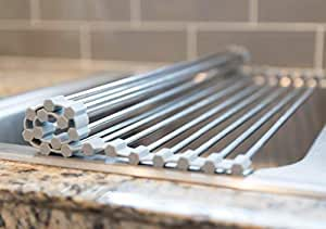 Top Home Solutions Escurreplatos plegable acero inoxidable para fregadero