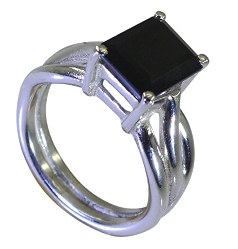 (Jewelryonclick Genuine Black Onyx Ring Sterling Silver Statement Rings Jewelry Size In 5,6,7,8,9,10,11,12)