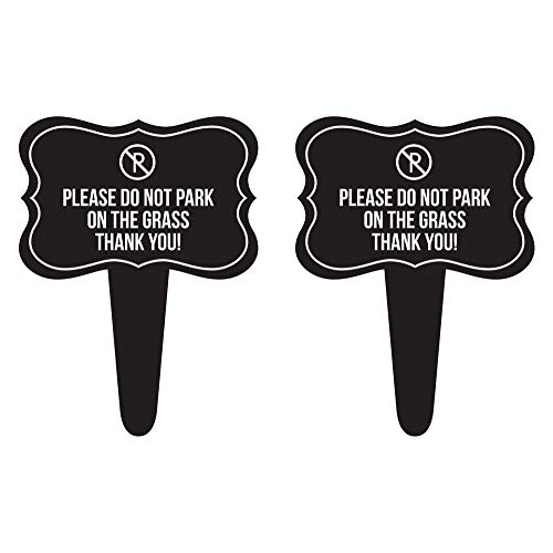 iCandy Combat Please Do Not Park on The Grass Thanks You! Home Yard Lawn Sign, Black, 12x16, 2 Pack