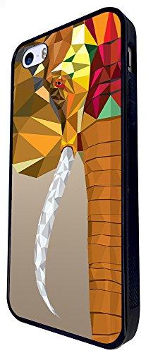 284 - Geometric Aztec Elephant Face Design iphone SE - 2016 Coque Fashion Trend Case Coque Protection Cover plastique et métal - Noir